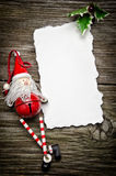 Christmas greeting card. Greeting card for Christmas with Santa Claus decoration and holly royalty free stock photography