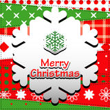 Christmas Greeting Card. Patchwork christmas background with snow flake Royalty Free Stock Photos