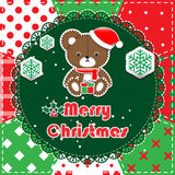 Christmas Greeting Card. Patchwork christmas background with teddy bear Royalty Free Stock Image