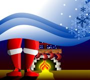 Christmas greeting card. An idea for Christmas greeting card, with decorations and Santa Klaus Shoes in front of a fireplace, decorated with Christmas stockings Royalty Free Stock Photography
