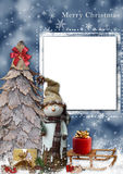 Christmas greeting card. Background with Christmas tree and snowman and card for photo or text Stock Images
