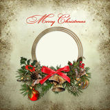 Christmas greeting card. Background with frame for photo or text and Christmas decorations Royalty Free Stock Photo