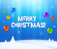 Christmas greeting card. Blue and white greeting card, merry Christmas Royalty Free Stock Images