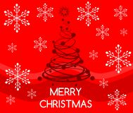 Christmas greeting card in red with artistic tree Royalty Free Stock Image