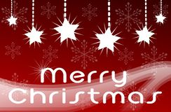 Christmas greeting card in red with stars Stock Photography