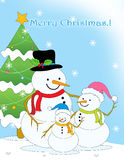 Christmas greeting card. Colorful Christmas greeting card with three pretty snowmen and beautiful Christmas tree on falling snowflakes background Stock Images