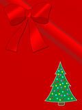 Christmas greeting card. Christmas card on red background with ribbon and christmas tree. Wide space for your text Stock Photos
