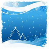 Christmas greeting card. With trees and snowflakes Stock Image