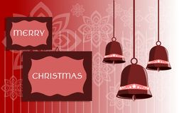 Christmas greeting card with bells royalty free stock images