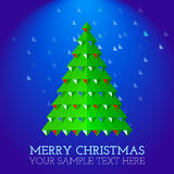 Christmas greeting card abstract christmas tree. Christmas greeting card abstract green christmas tree on snowing blue background Royalty Free Stock Image