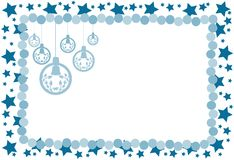 Christmas greeting card with decorations in blue Stock Photo