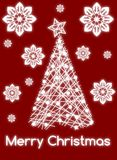 Christmas greeting card with tree in red Royalty Free Stock Photo