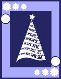Christmas greeting card with tree in blue Royalty Free Stock Image