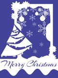 Christmas greeting card in blue and white Stock Image
