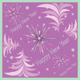 Christmas greeting card with abstract fir-trees. And fireworks on purple background with balls Stock Photo