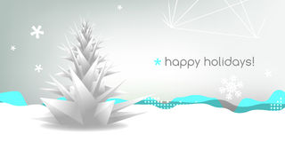 Christmas greeting card. With abstract christmas tree Stock Photo