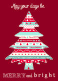 Christmas greeting card with abstract tree Royalty Free Stock Image
