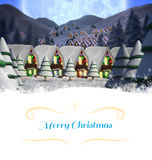 Christmas greeting card. Against quaint town with bright moon Royalty Free Stock Photos