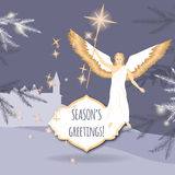 Christmas greeting card with angel and Bethlehem. Christmas greeting card with pine branches, winter town and angel holding a Bethlehem star. Based on hand drawn Stock Photography
