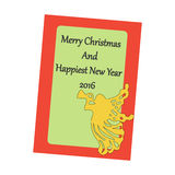 Christmas Greeting Card. Angel on the green background. Vector illustration Stock Image