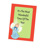 Christmas Greeting Card. Angel on the green background. Vector illustration Royalty Free Stock Images