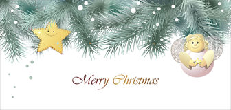 Christmas greeting card  with an angel Royalty Free Stock Photos