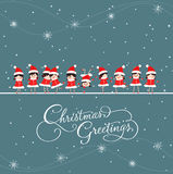 Christmas greeting card with baby girls. Merry christmas background and greeting card design Stock Photos