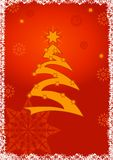 Christmas greeting card background. Stylized christmas tree illustration - Gold on red snowfall background Stock Photo