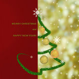 Christmas greeting card background with fir tree and Christmas lights Royalty Free Stock Image