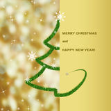 Christmas greeting card background with fir tree and Christmas lights on golden yellow. Christmas greeting card, background with bokeh, stylized pine tree and Royalty Free Stock Photos