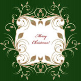 Christmas greeting card background with flourish pattern Royalty Free Stock Photo