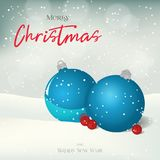 Christmas greeting card, background, poster with balls and berries in the snow. Winter scene. Vector illustration for Royalty Free Stock Photos