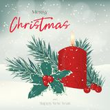 Christmas greeting card, background, poster with candle,. Fir-tree, holly and berries in the snow. Winter scene. Vector illustration. Holiday Collection Royalty Free Stock Images