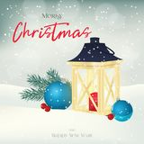Christmas greeting card, background, poster with lantern, fir-tree, balls and berries in the snow. Winter scene. Vector Royalty Free Stock Photos