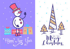 Christmas greeting card background poster. Vector illustration. Stock Image