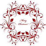 Christmas greeting card background with red flourish pattern on white Stock Photography