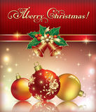 Christmas greeting card with balls and bells Stock Photos
