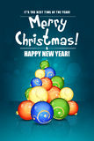 Christmas Greeting Card. With Christmas Balls on Blue Background Stock Photo
