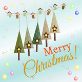 Christmas greeting card. Christmas card with balls, place for text vector illustration