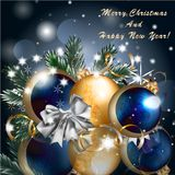 Christmas greeting card with baubles Stock Images