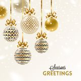 Christmas greeting card. Christmas baubles hang on golden ribbon. Christmas greeting card - patterned golden baubles with bow under snow vector illustration
