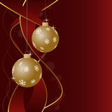 Christmas greeting card - baubles with snowflakes and ribbons Stock Image
