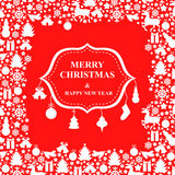 Christmas greeting card with baubles Royalty Free Stock Photos