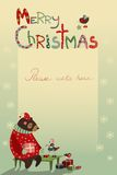 Christmas greeting card with bear and birds Royalty Free Stock Images