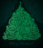 Christmas greeting card with beautiful hand drawn ornate Stock Image