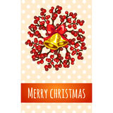 Christmas greeting card with bell and berries Stock Photos