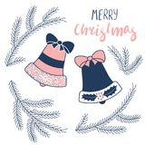 Christmas greeting card with bells and fir tree. Hand drawn Christmas greeting card with bells and fir tree branches, text Merry Christmas. Isolated objects on Royalty Free Stock Photo