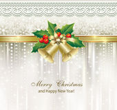 Christmas greeting card. With bells on openwork silver background stock illustration