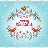 Christmas greeting card with bird and branch. Stock Images