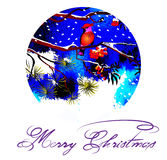 Christmas greeting card. Birds on branches in the winter forest. Christmas, frosty night. Royalty Free Stock Photography